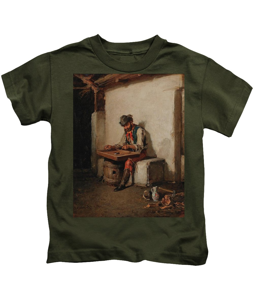 Hermann Kern (liptovsk� Hr�dok 1838-1912 Maria Enzersdorf) The Cimbalom Player Kids T-Shirt featuring the painting The Cimbalom Player by MotionAge Designs
