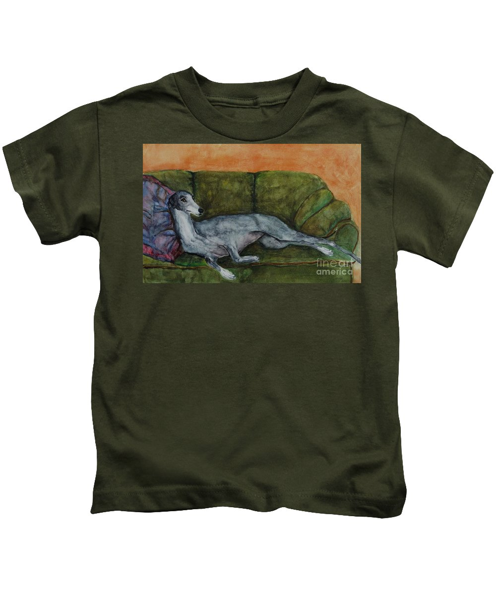Greyhounds Kids T-Shirt featuring the painting The Couch Potatoe by Frances Marino