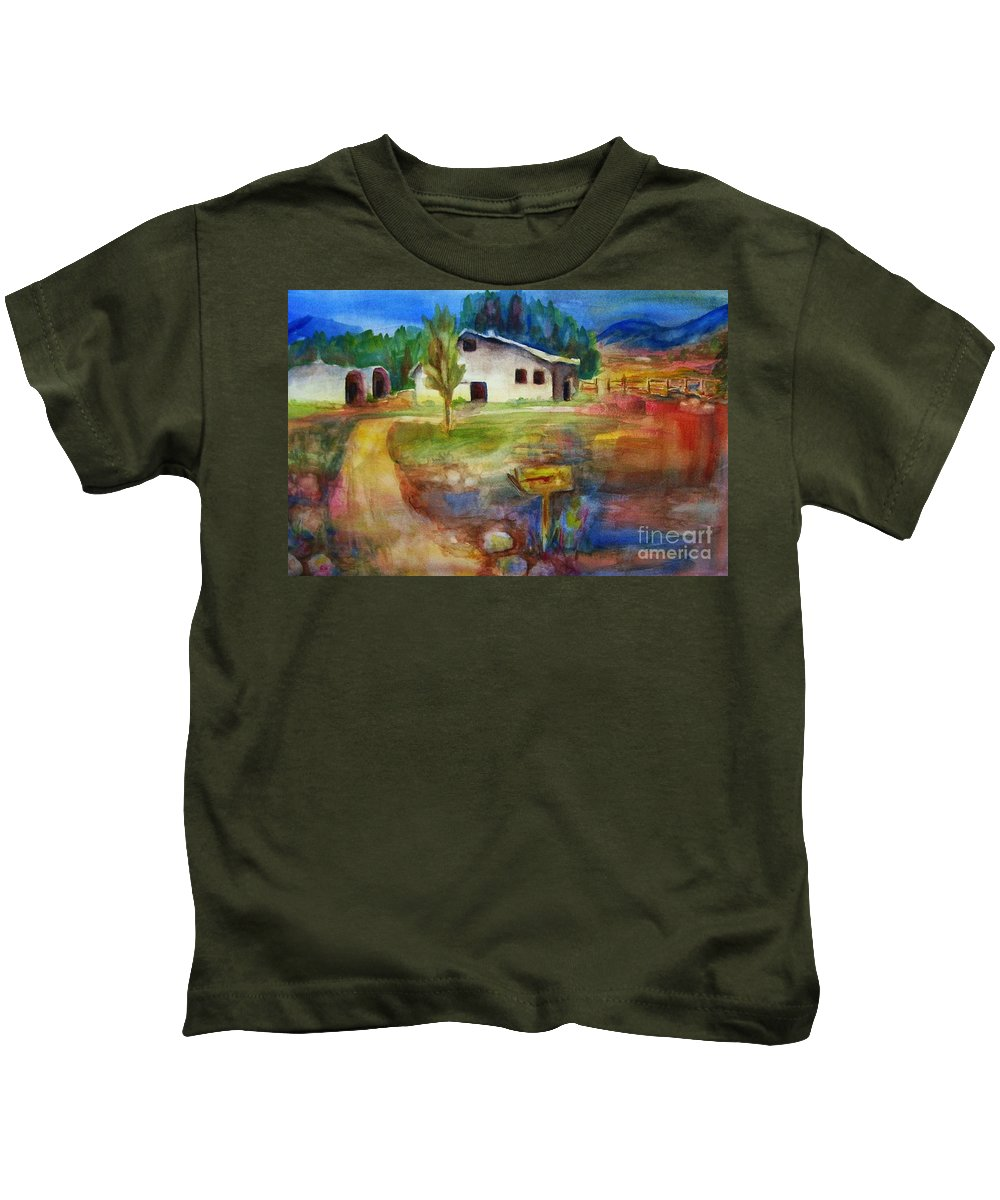 Country Barn Kids T-Shirt featuring the painting The Country Barn by Frances Marino