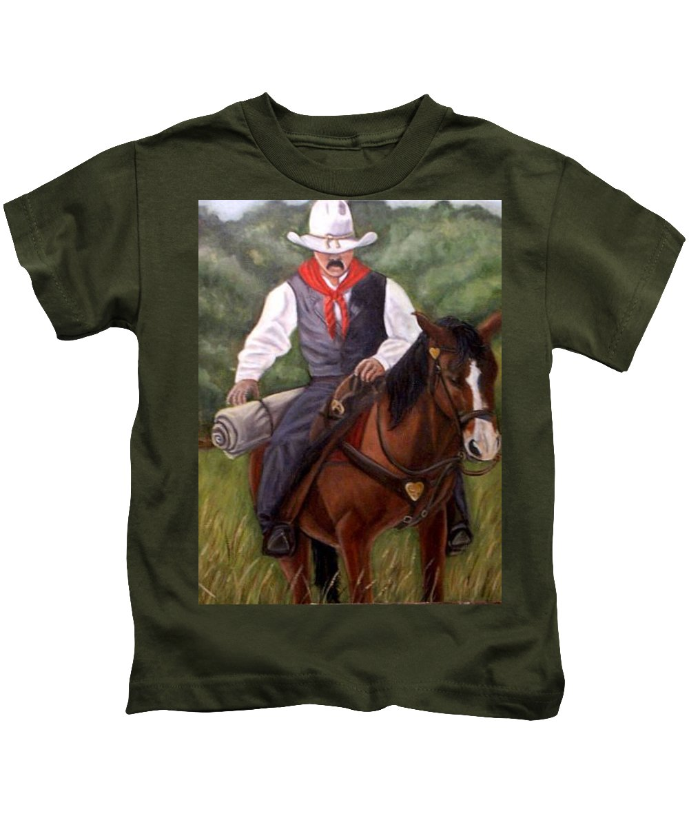 Portrait Kids T-Shirt featuring the painting The Cowboy by Toni Berry