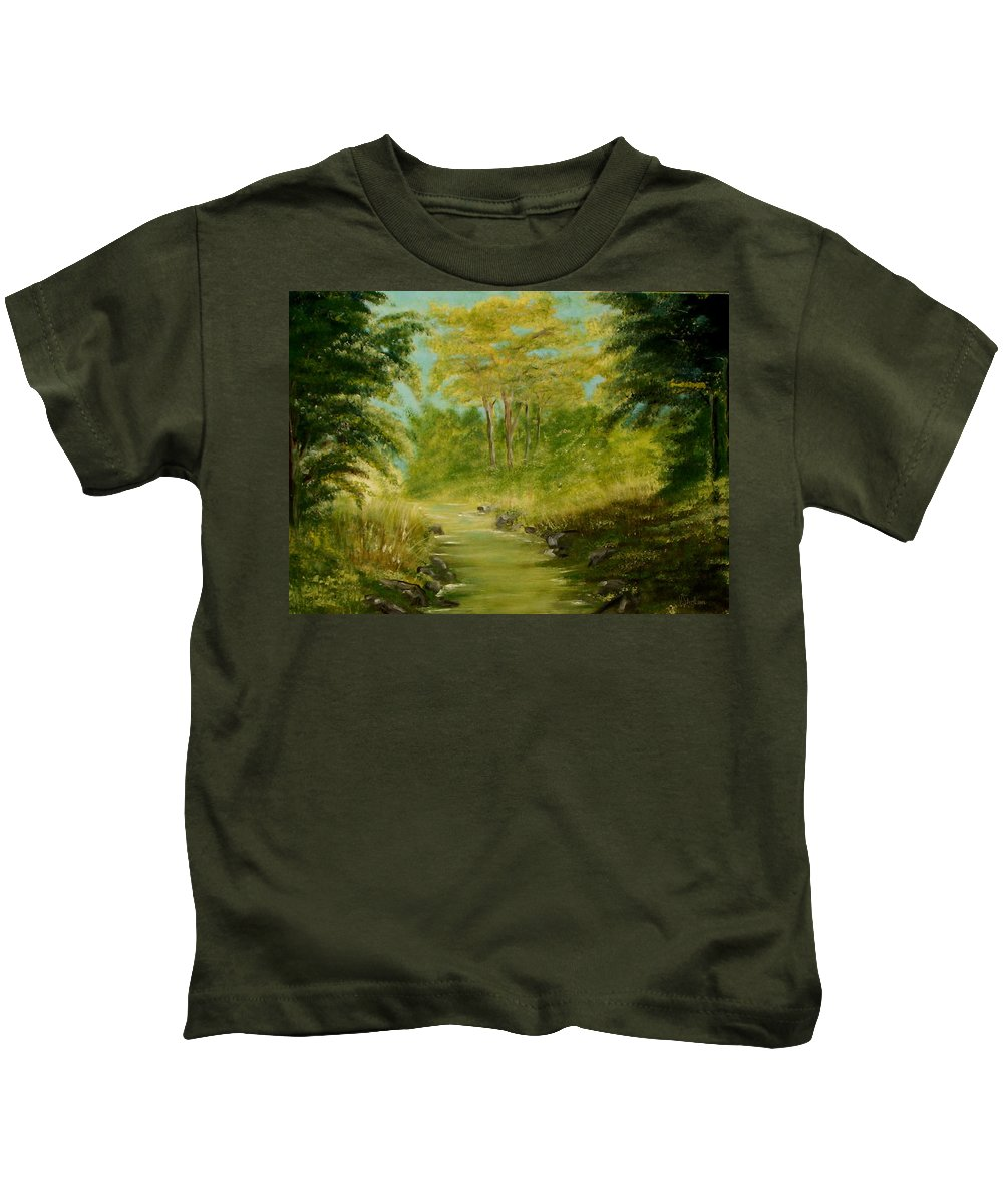 Water River Creek Nature Trees Landscape Kids T-Shirt featuring the painting The Creek by Veronica Jackson