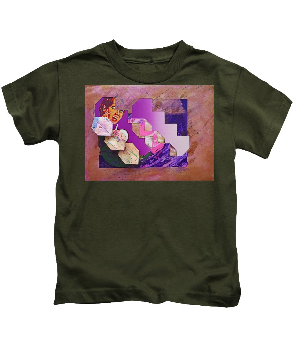 Psycho Kids T-Shirt featuring the mixed media The Cubist Scream by Charles Stuart