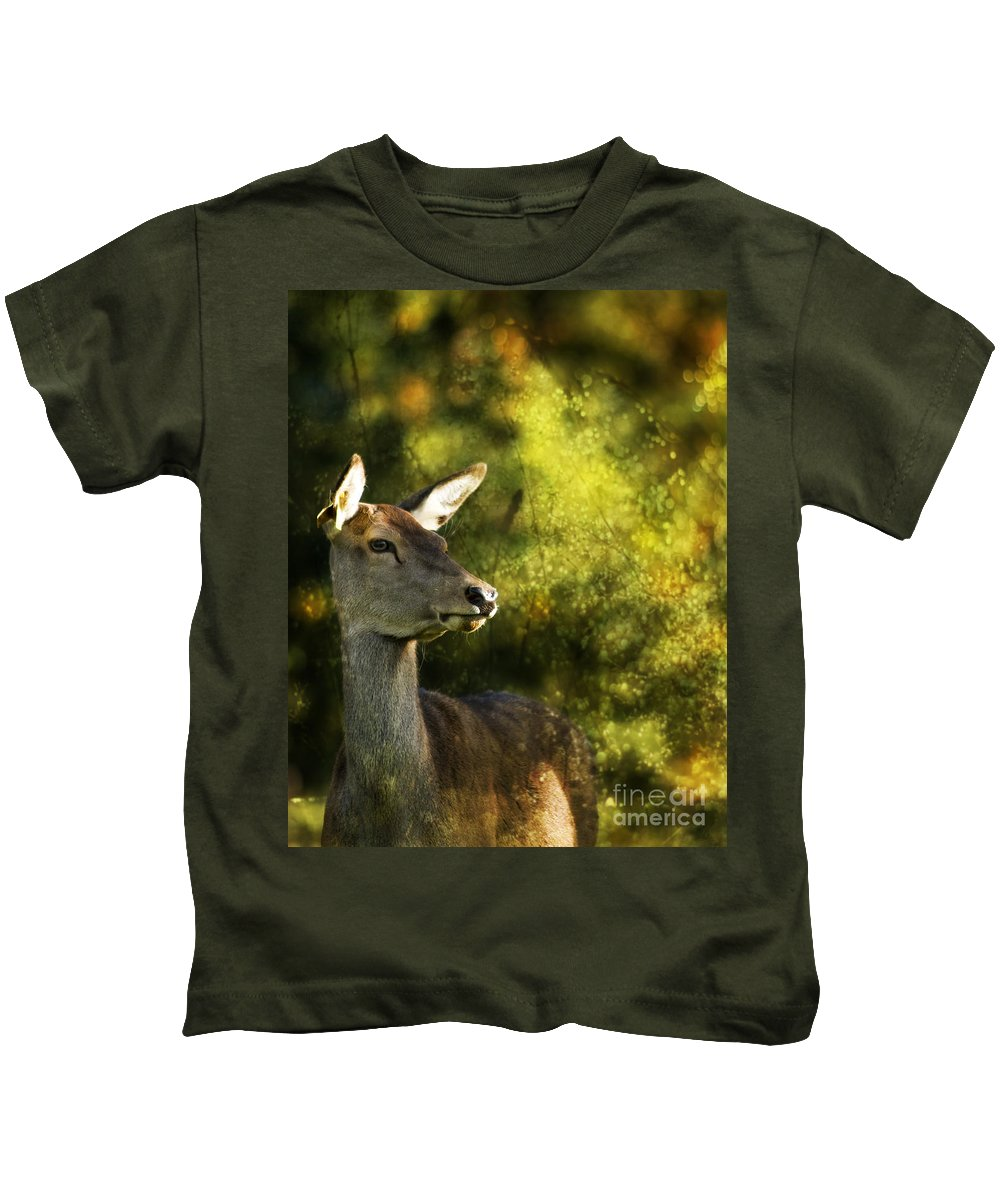 Deer Kids T-Shirt featuring the photograph The Deer by Angel Ciesniarska