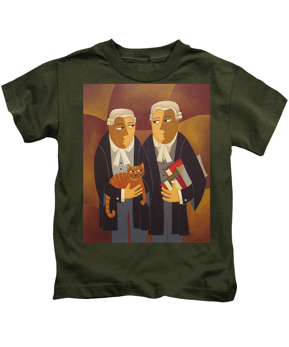 Lawyers Kids T-Shirt featuring the painting The Defendant by Thomas Andersen