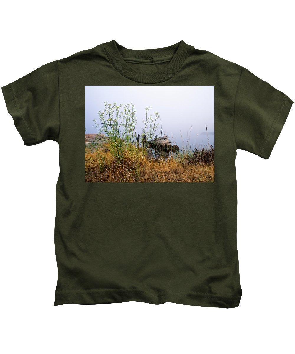 Boats Kids T-Shirt featuring the photograph The Derelict Mary D. Hume by Robert Potts
