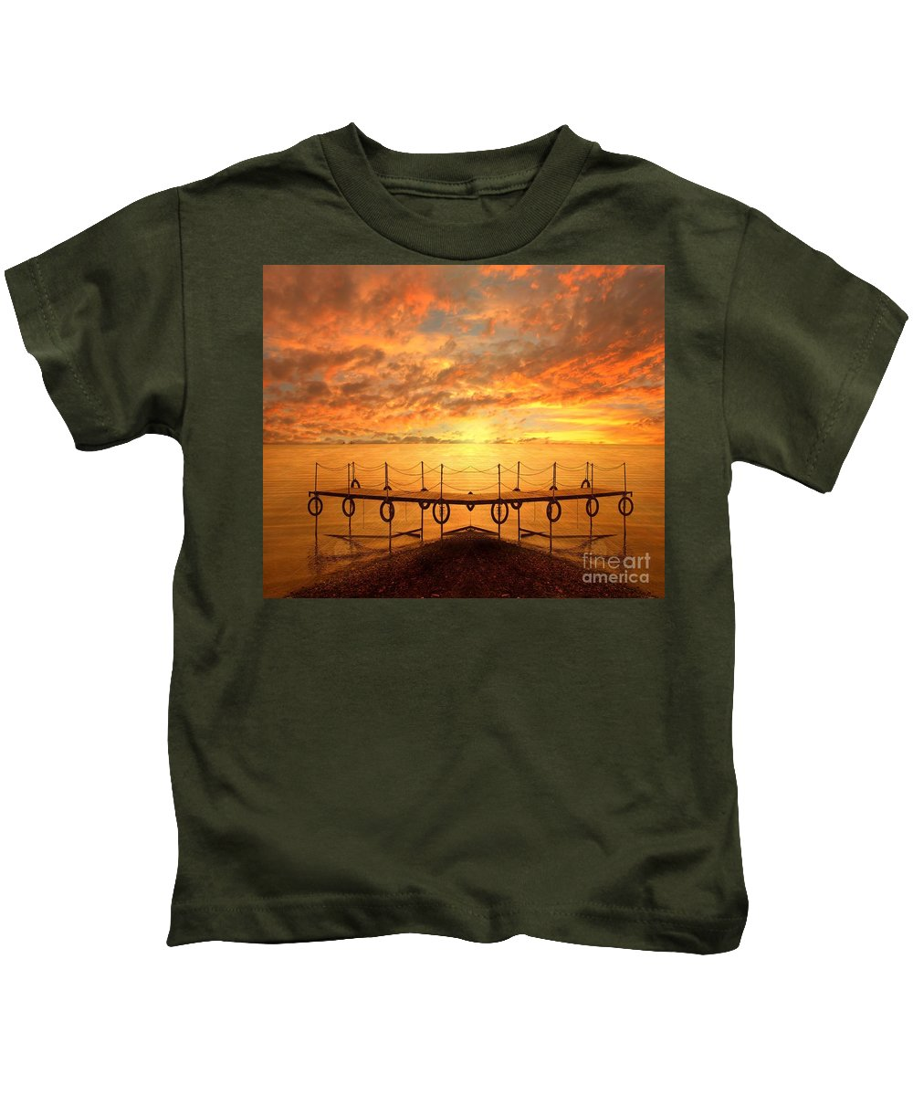 Waterscape Kids T-Shirt featuring the photograph The Dock by Jacky Gerritsen