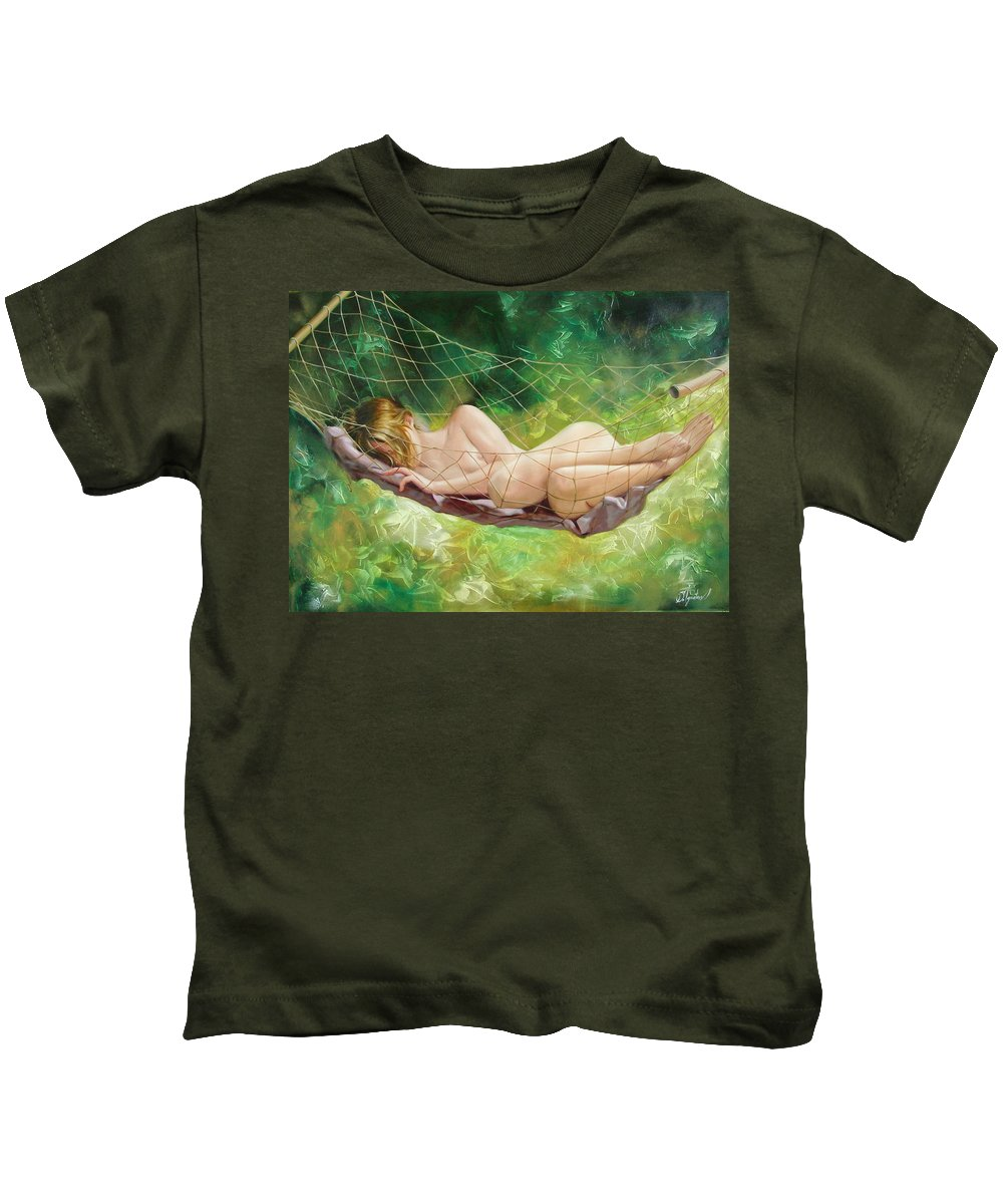 Oil Kids T-Shirt featuring the painting The Dream In Summer Garden by Sergey Ignatenko