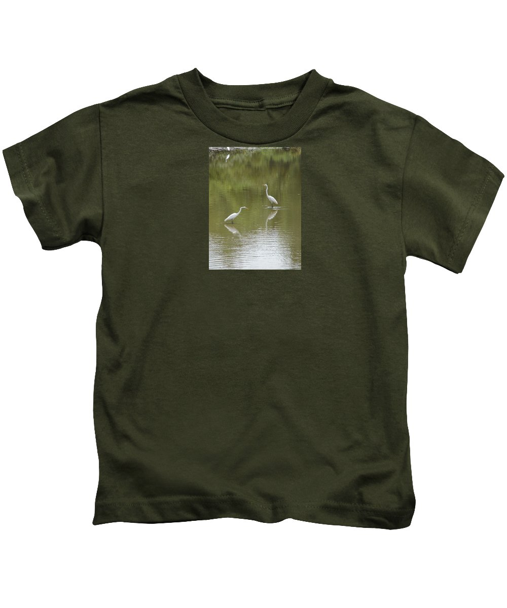 Egrets Kids T-Shirt featuring the photograph The Egret Pond by J R  Seymour