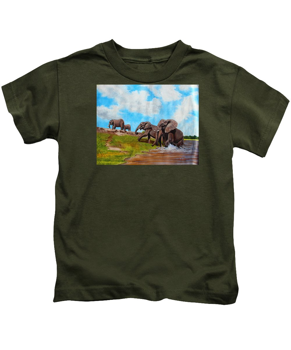 True African Art Kids T-Shirt featuring the painting The Elephants Rise by Richard Kimenia