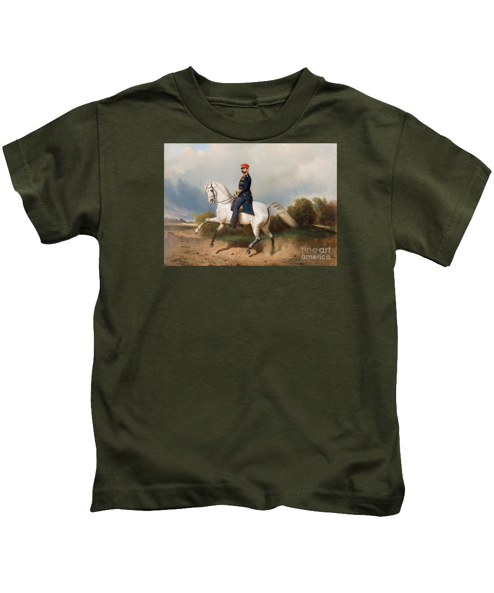 The Emperor Alexander Ii Of Russia Riding Schverskov 1872 Kids T-Shirt featuring the painting The Emperor Alexander by MotionAge Designs