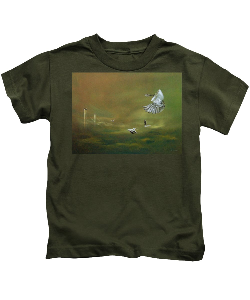 Surrealism Kids T-Shirt featuring the painting The Empty Nest by Marco Cuba-Ricsi