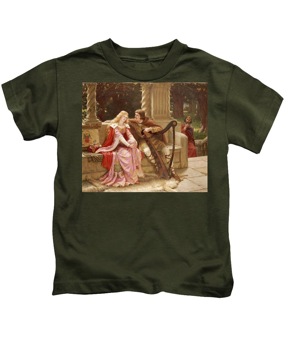Valentine's Day Kids T-Shirt featuring the painting The End Of The Song by Edmund Blair Leighton