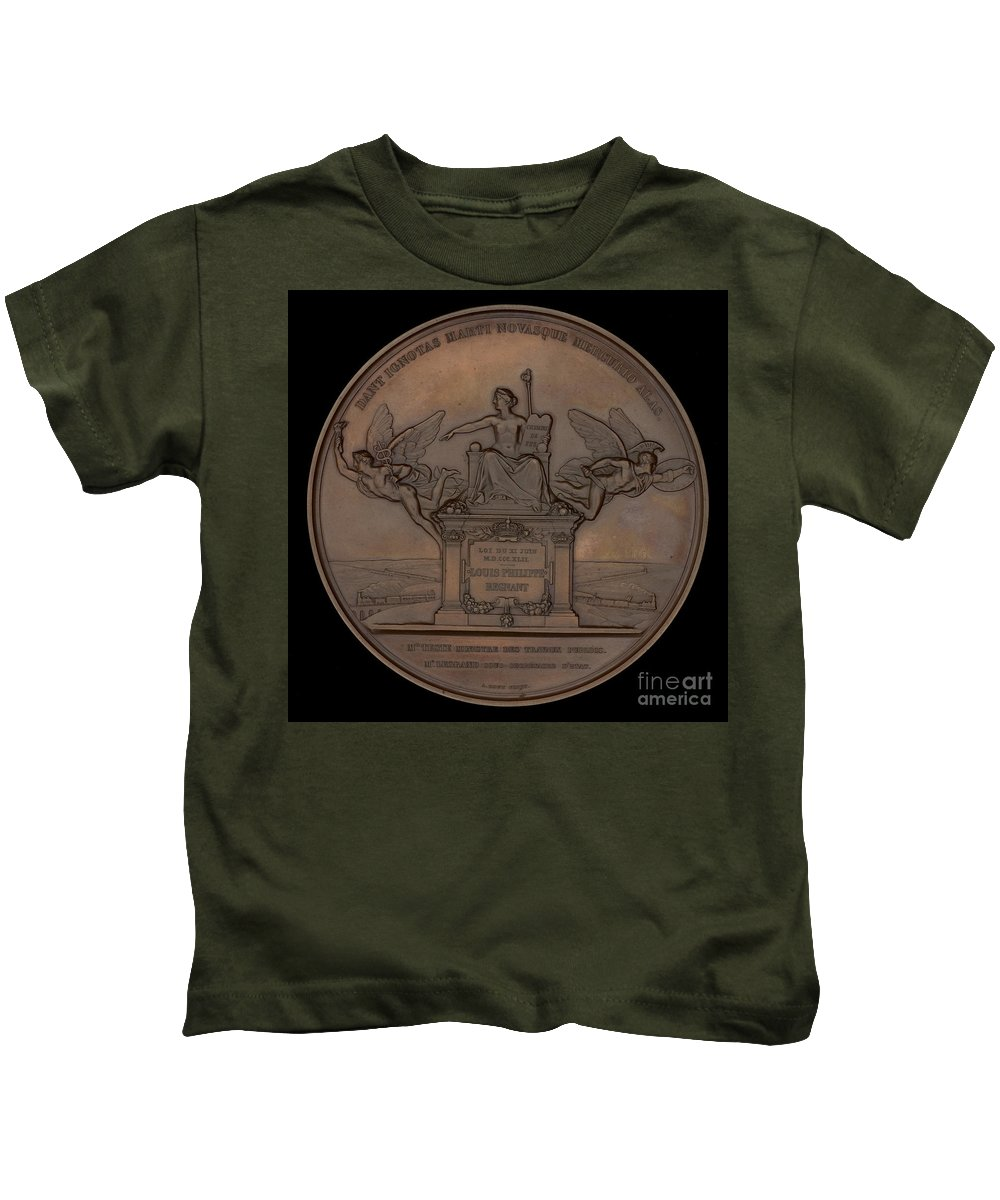 Kids T-Shirt featuring the painting The Establishment Of The French Railway System: The Law Of 11 June 1842 [reverse] by Antoine Bovy