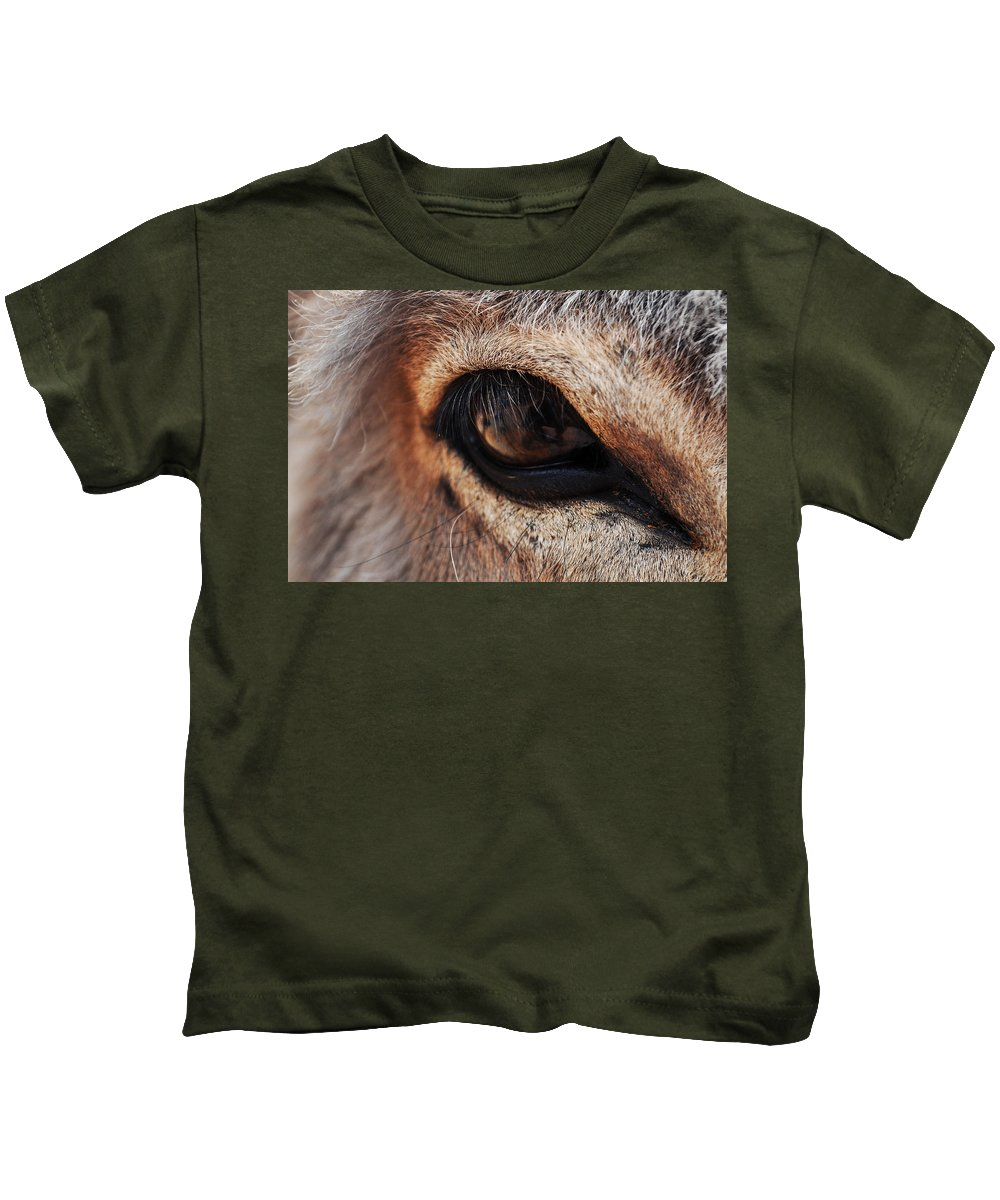 Burro Kids T-Shirt featuring the photograph The Eye Of A Burro by Kyle Hanson