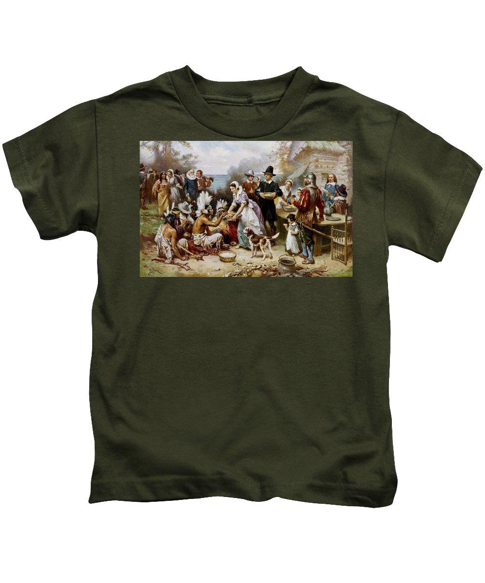 The First Thanksgiving Kids T-Shirt featuring the painting The First Thanksgiving by PaintingAssociates