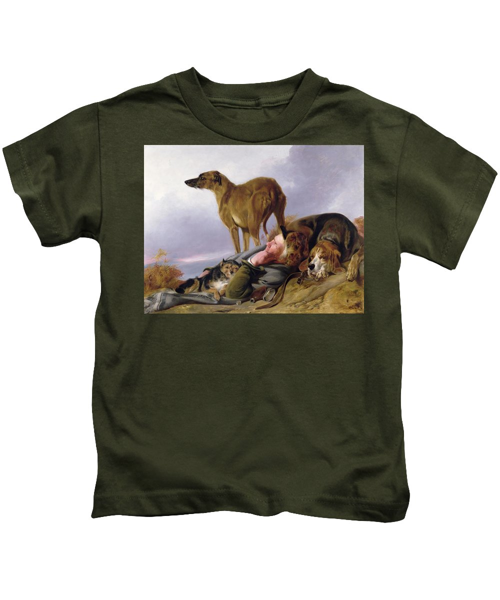 Kids T-Shirt featuring the painting The First Watch by Richard Ansdell