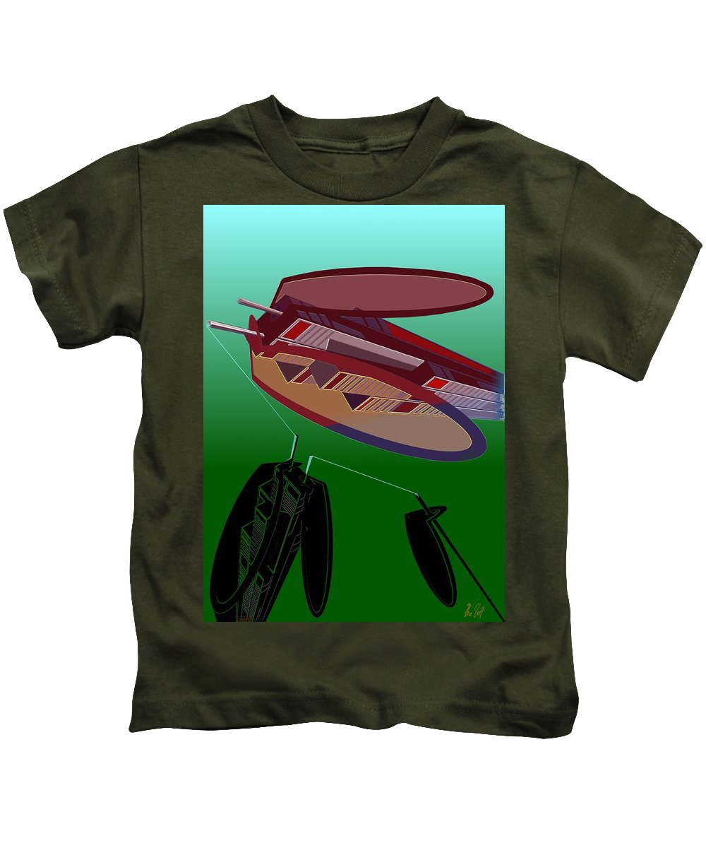 Fly Kids T-Shirt featuring the digital art The Flying Skyscraper by Helmut Rottler