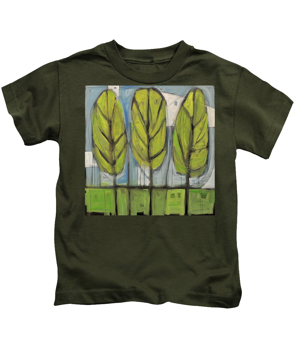 Trees Kids T-Shirt featuring the painting the Four Seasons - spring by Tim Nyberg