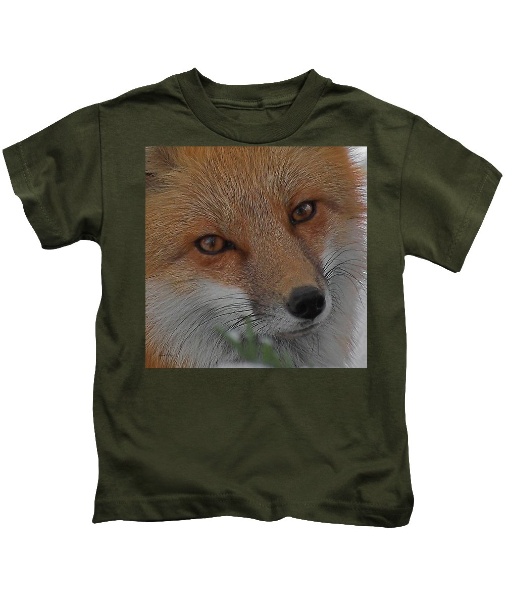 Red Fox Kids T-Shirt featuring the photograph The Fox 4 Upclose by Ernie Echols