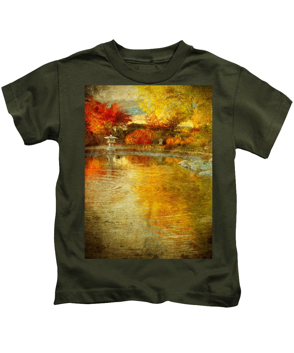 Japanese Gardens Kids T-Shirt featuring the photograph The Golden Dreams Of Autumn by Tara Turner
