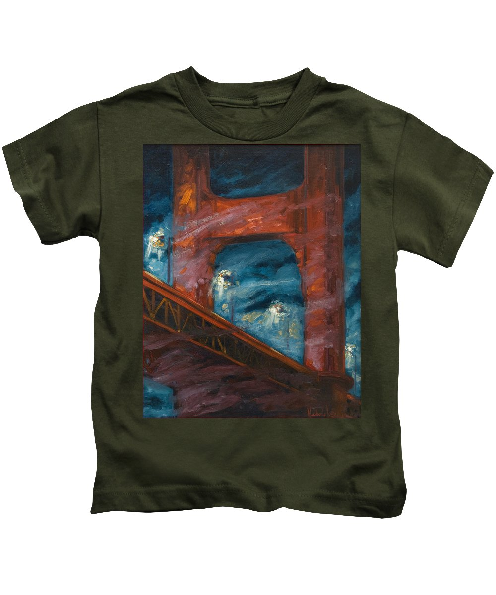 Bridge Kids T-Shirt featuring the painting The Golden Gate by Rick Nederlof