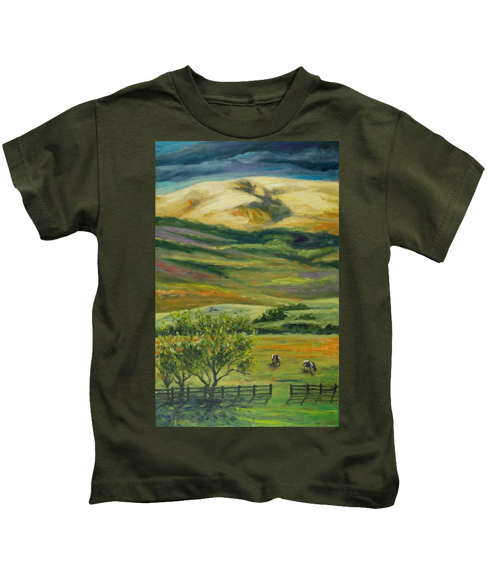 California Hills Kids T-Shirt featuring the painting The Grapevine by Rick Nederlof
