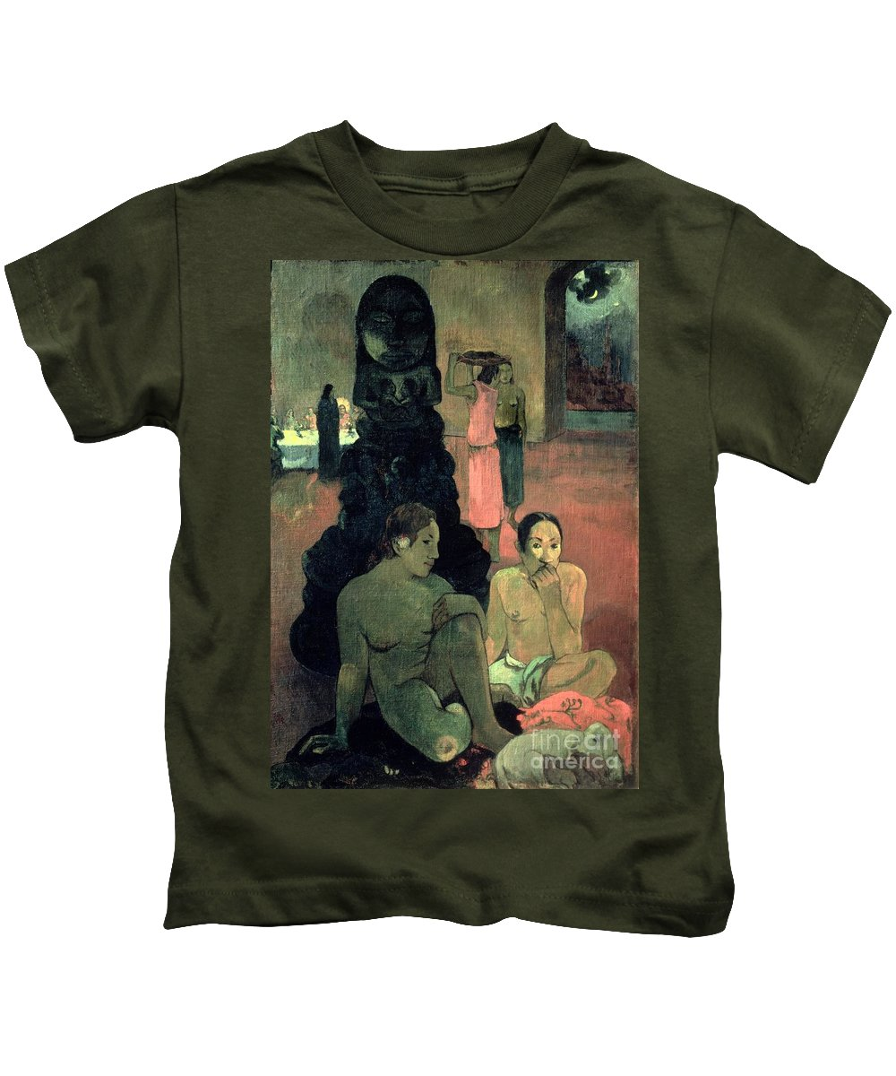 The Great Buddha Kids T-Shirt featuring the painting The Great Buddha by Paul Gauguin