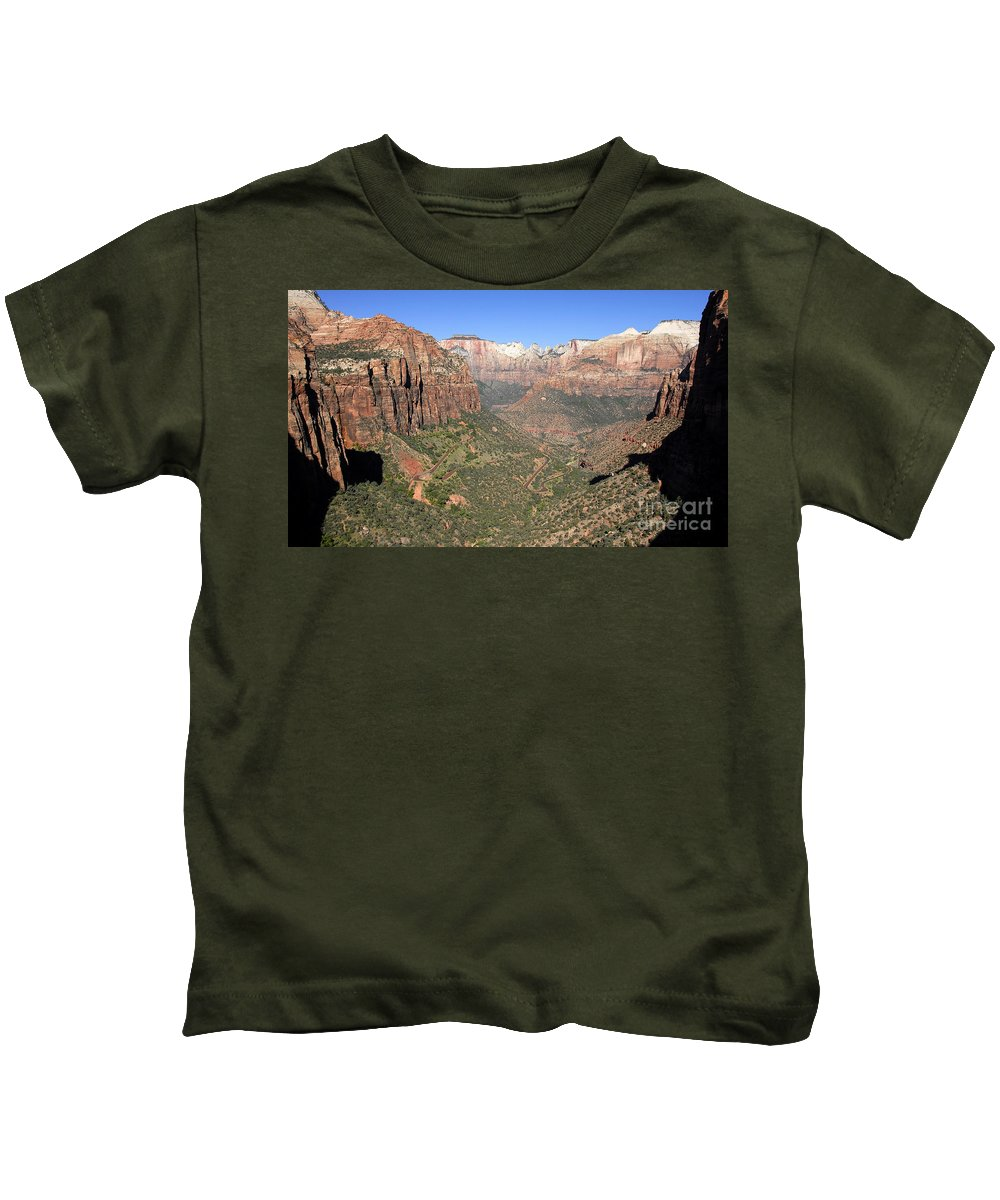 Fine Art Photography Kids T-Shirt featuring the photograph The Great Canyon Of Zion by David Lee Thompson