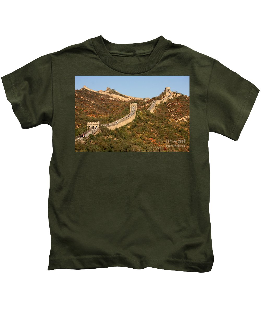 The Great Wall Of China Kids T-Shirt featuring the photograph The Great Wall On Beautiful Autumn Day by Carol Groenen