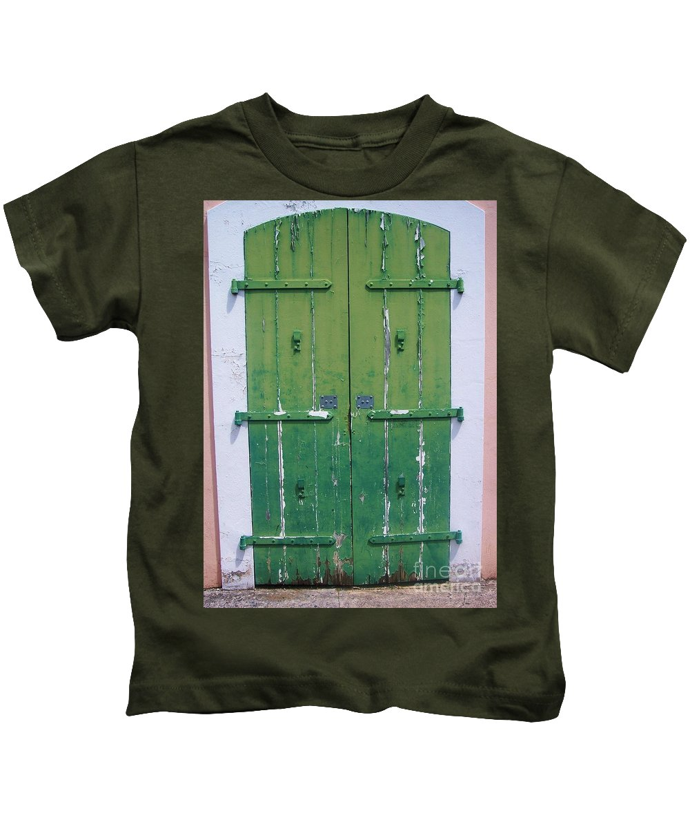 Architecture Kids T-Shirt featuring the photograph The Green Door by Debbi Granruth