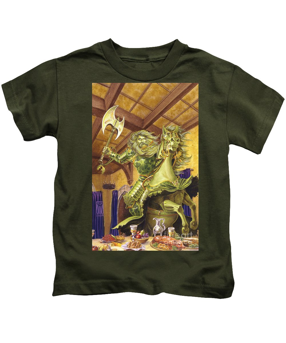 Fine Art Kids T-Shirt featuring the painting The Green Knight by Melissa A Benson