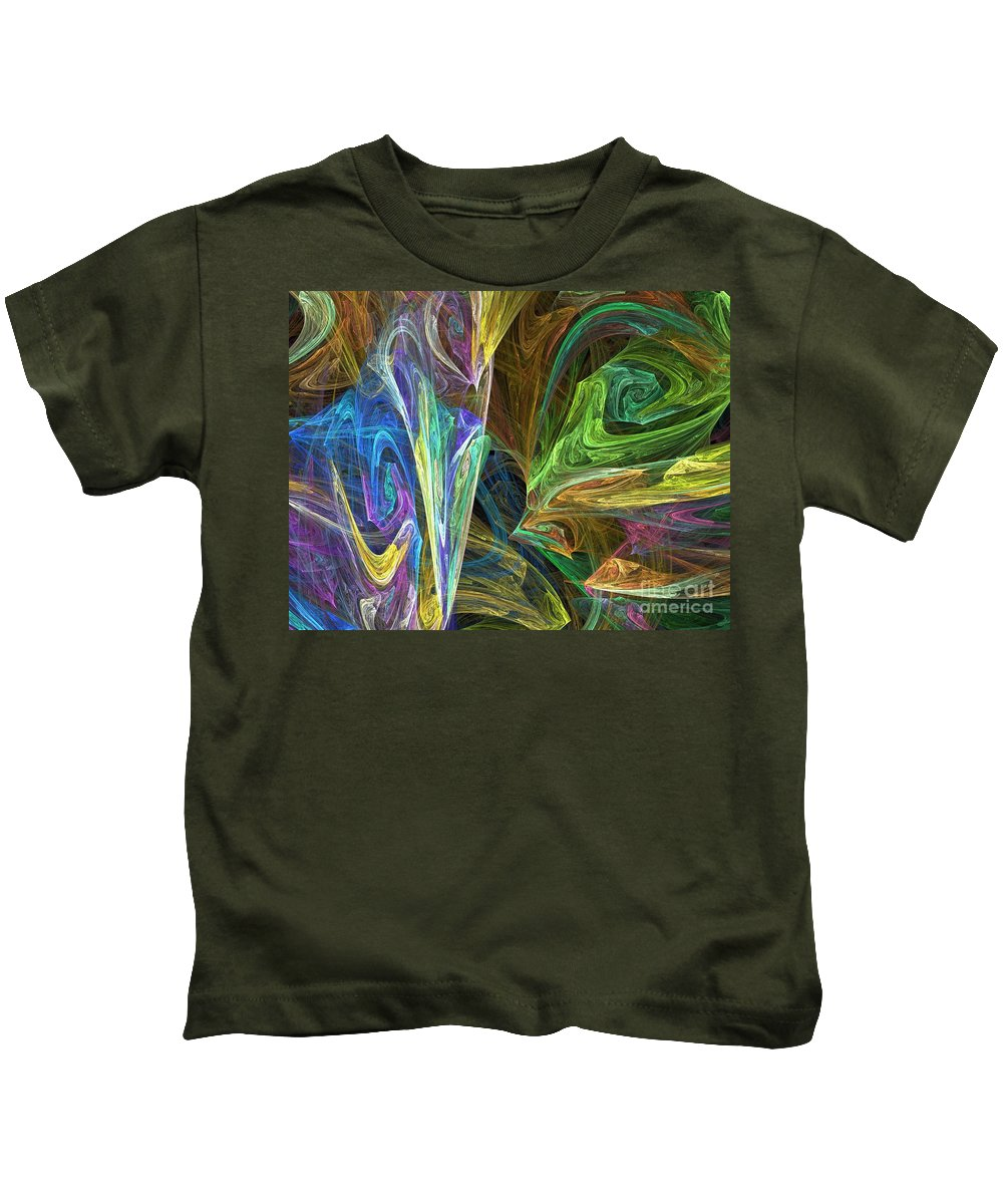 Fractals Kids T-Shirt featuring the digital art The Groove by Richard Rizzo