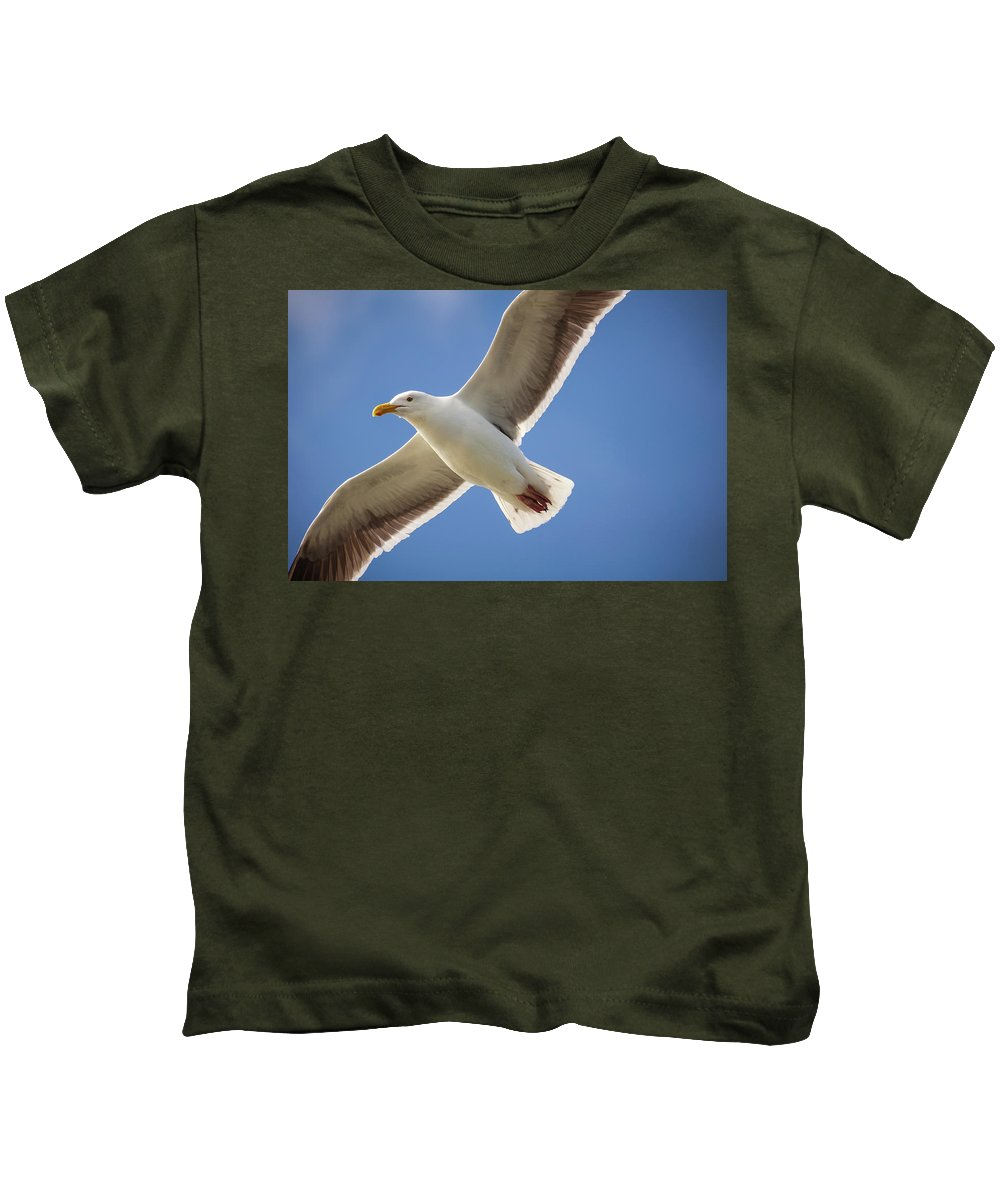 Kids T-Shirt featuring the photograph The Gull by Marni Moore