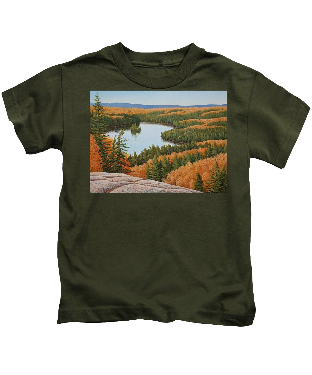 Landscape Kids T-Shirt featuring the painting The Height Of Autumn by Jake Vandenbrink