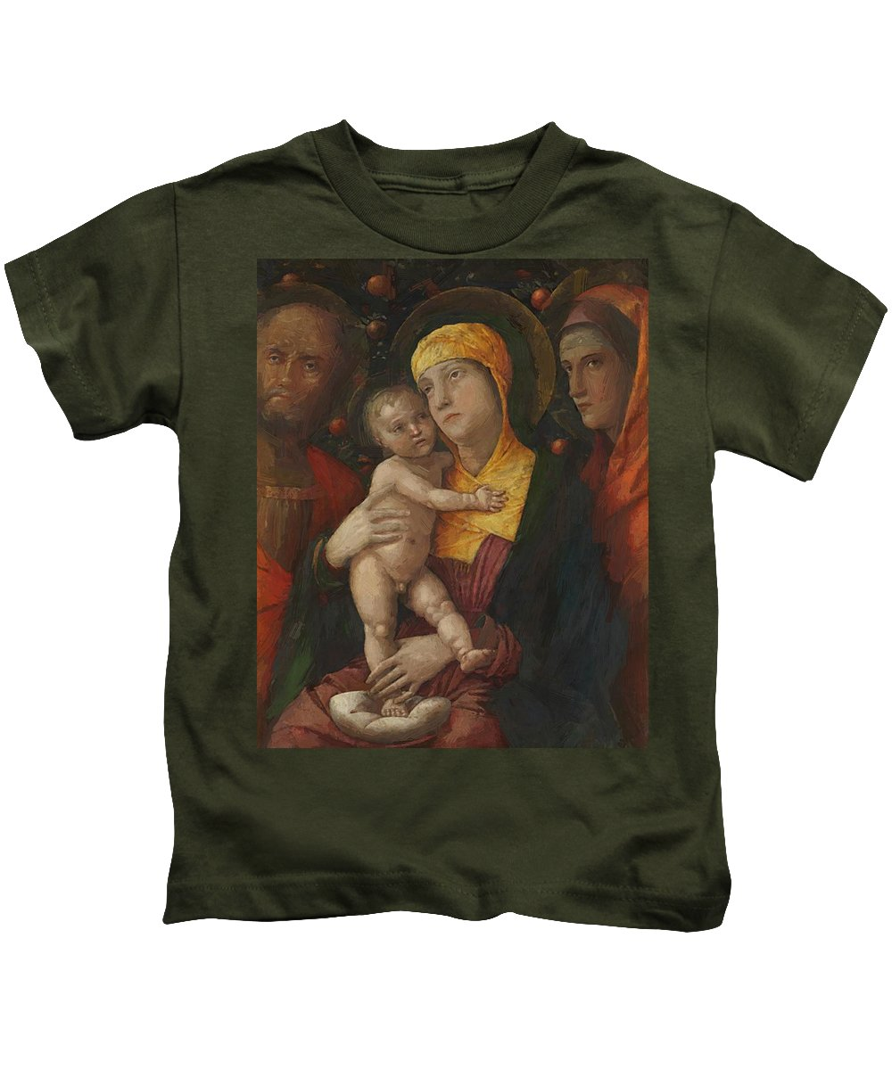 The Kids T-Shirt featuring the painting The Holy Family With Saint Mary Magdalen 1500 by Mantegna Andrea