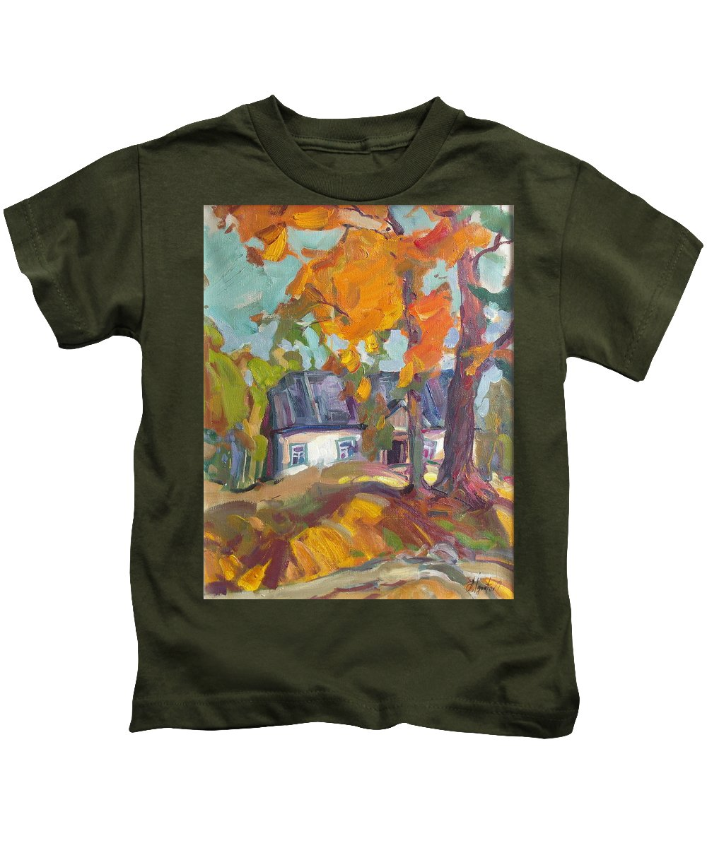 Oil Kids T-Shirt featuring the painting The House In Chervonka Village by Sergey Ignatenko