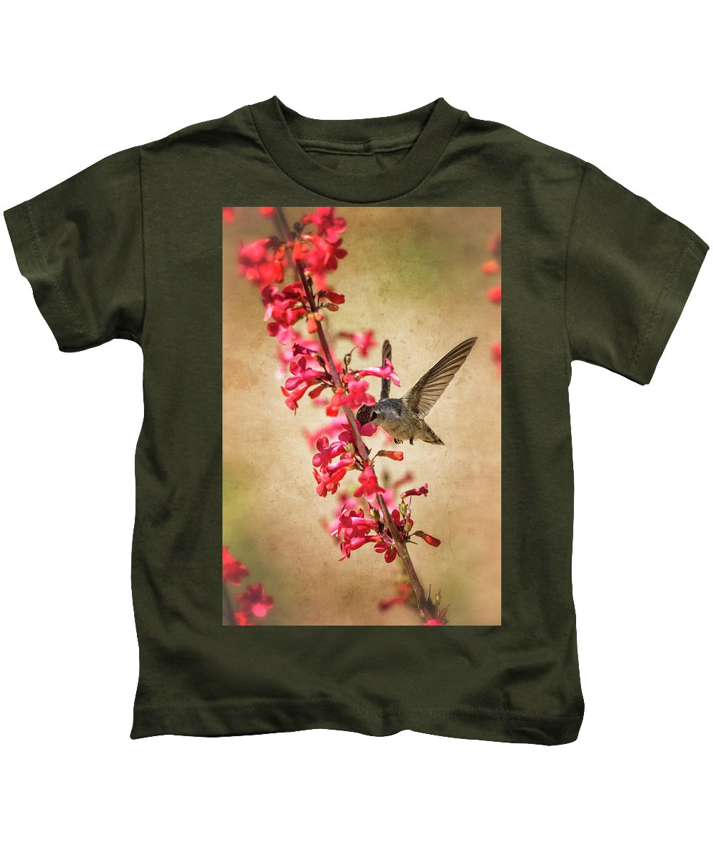 Hummingbird Kids T-Shirt featuring the photograph The Hummingbird And The Spring Flowers by Saija Lehtonen