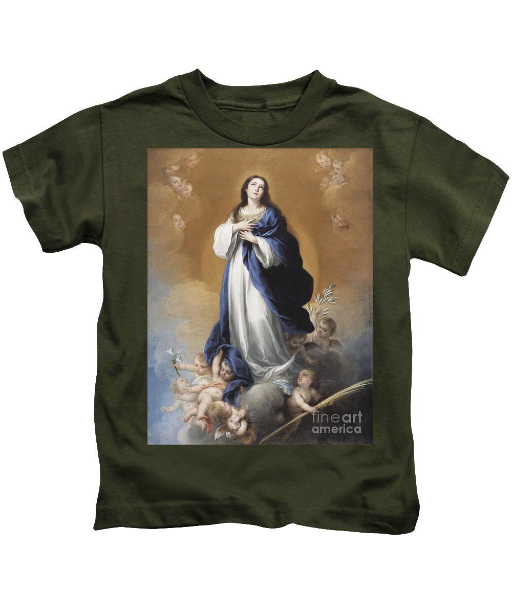 The Kids T-Shirt featuring the painting The Immaculate Conception by Bartolome Esteban Murillo