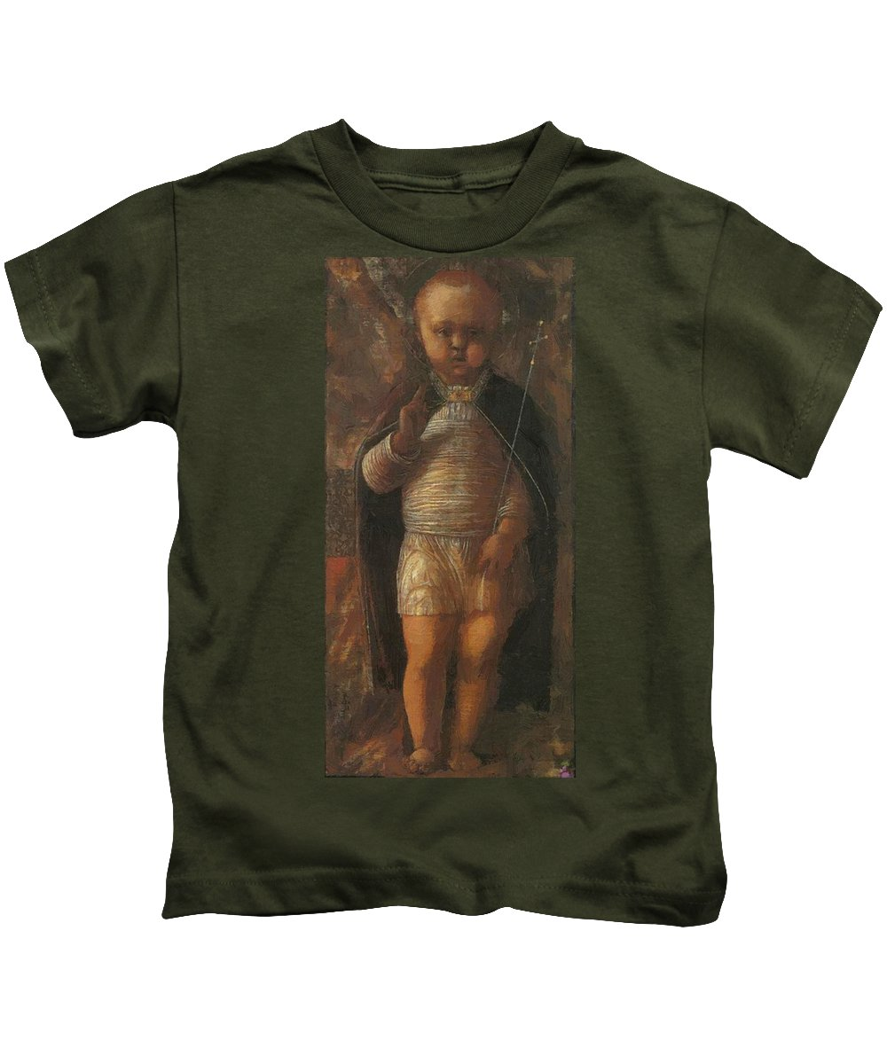 The Kids T-Shirt featuring the painting The Infant Redeemer 1495 by Mantegna Andrea