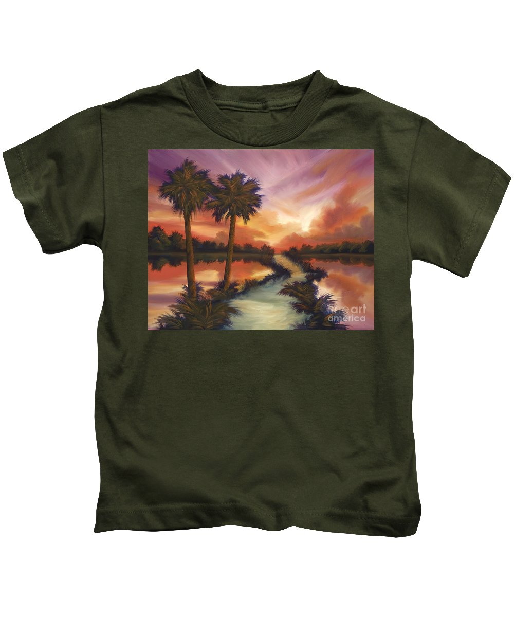 Skyscape Kids T-Shirt featuring the painting The Lane Ahead by James Christopher Hill