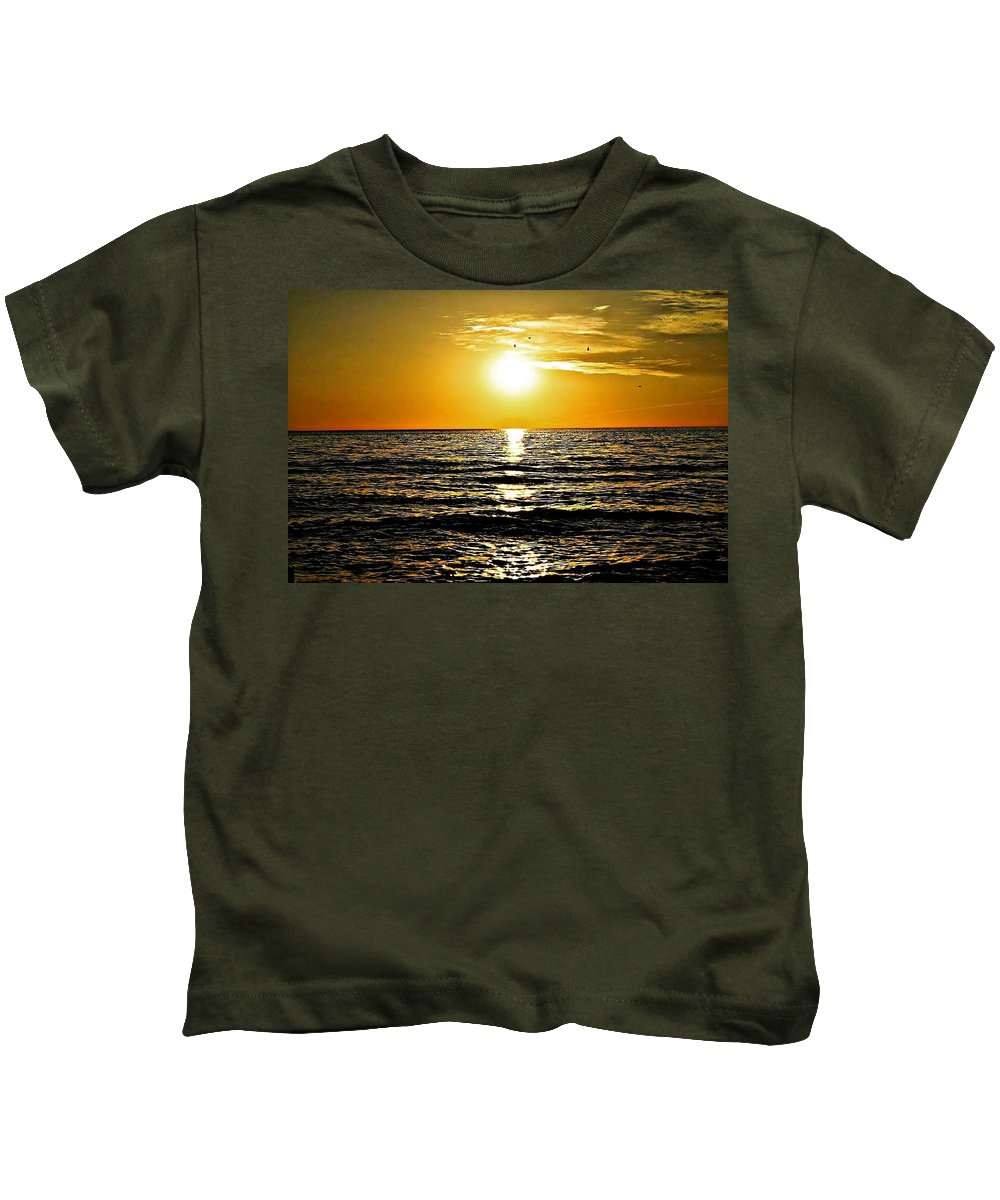 Lake Michigan Kids T-Shirt featuring the photograph The Last Sunset by Beau Swanson