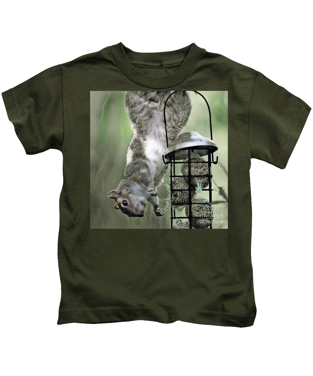 Squirrel Kids T-Shirt featuring the photograph The Little Acrobat by Angel Ciesniarska
