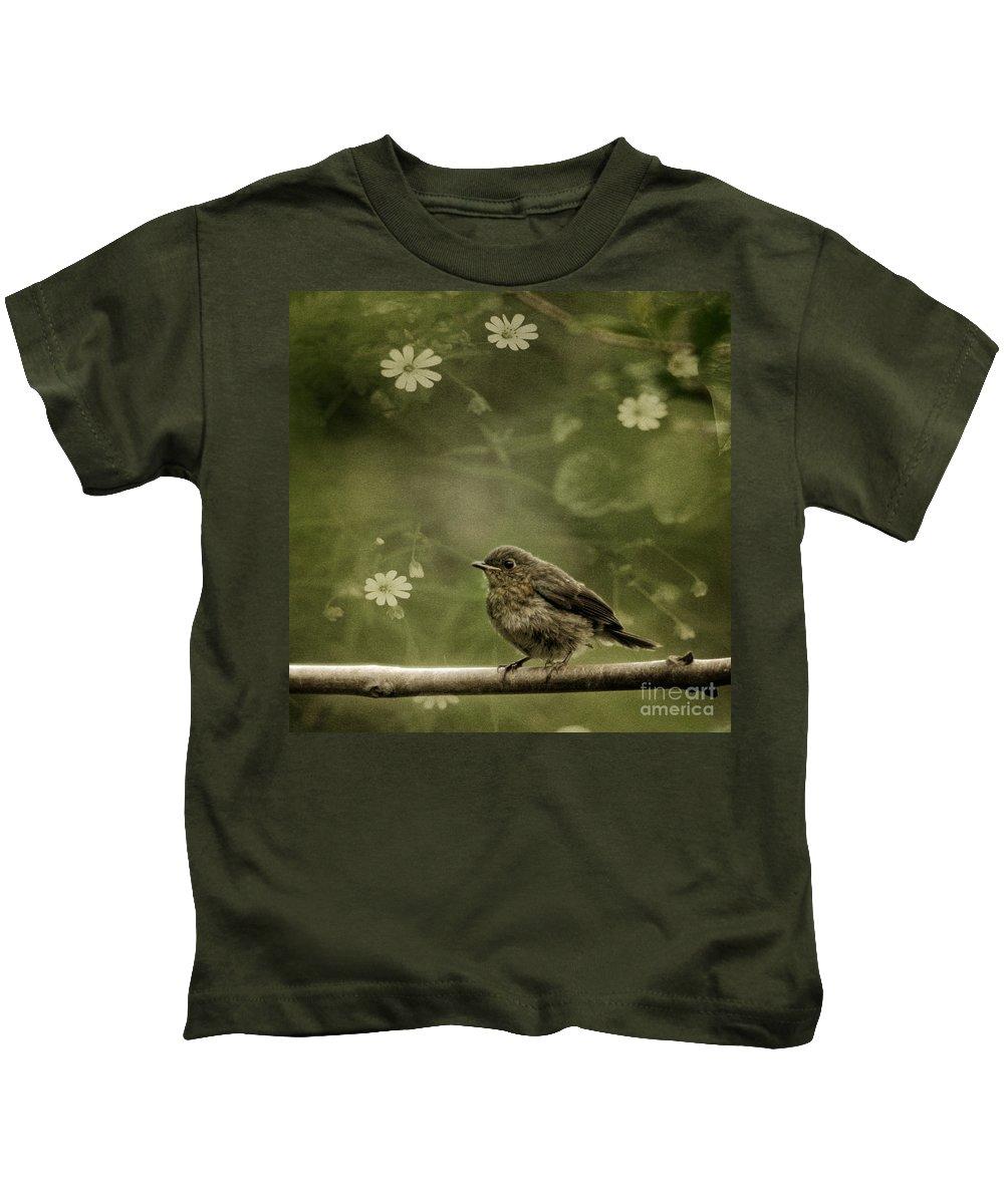 Robin Kids T-Shirt featuring the photograph The Little Robin by Angel Ciesniarska