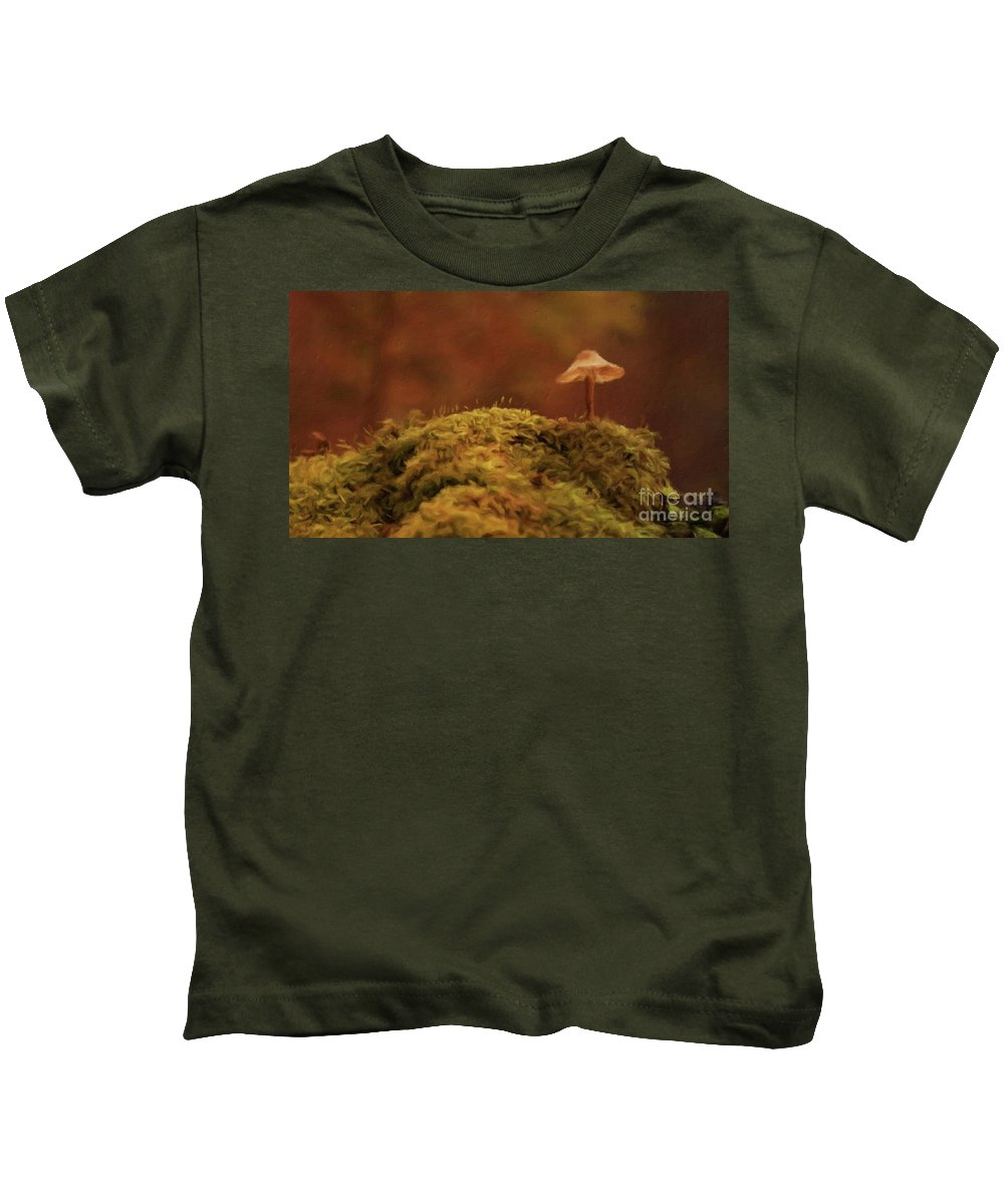 Landscape Kids T-Shirt featuring the painting The Lonely Mushroom by Sarah Kirk