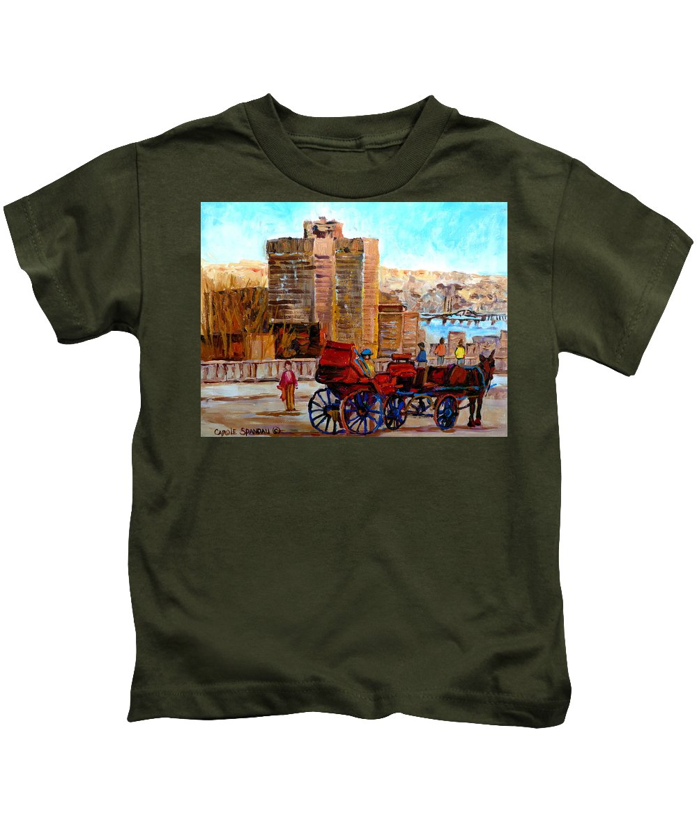 Montreal Street Scene Kids T-Shirt featuring the painting The Lookout On Mount Royal Montreal by Carole Spandau