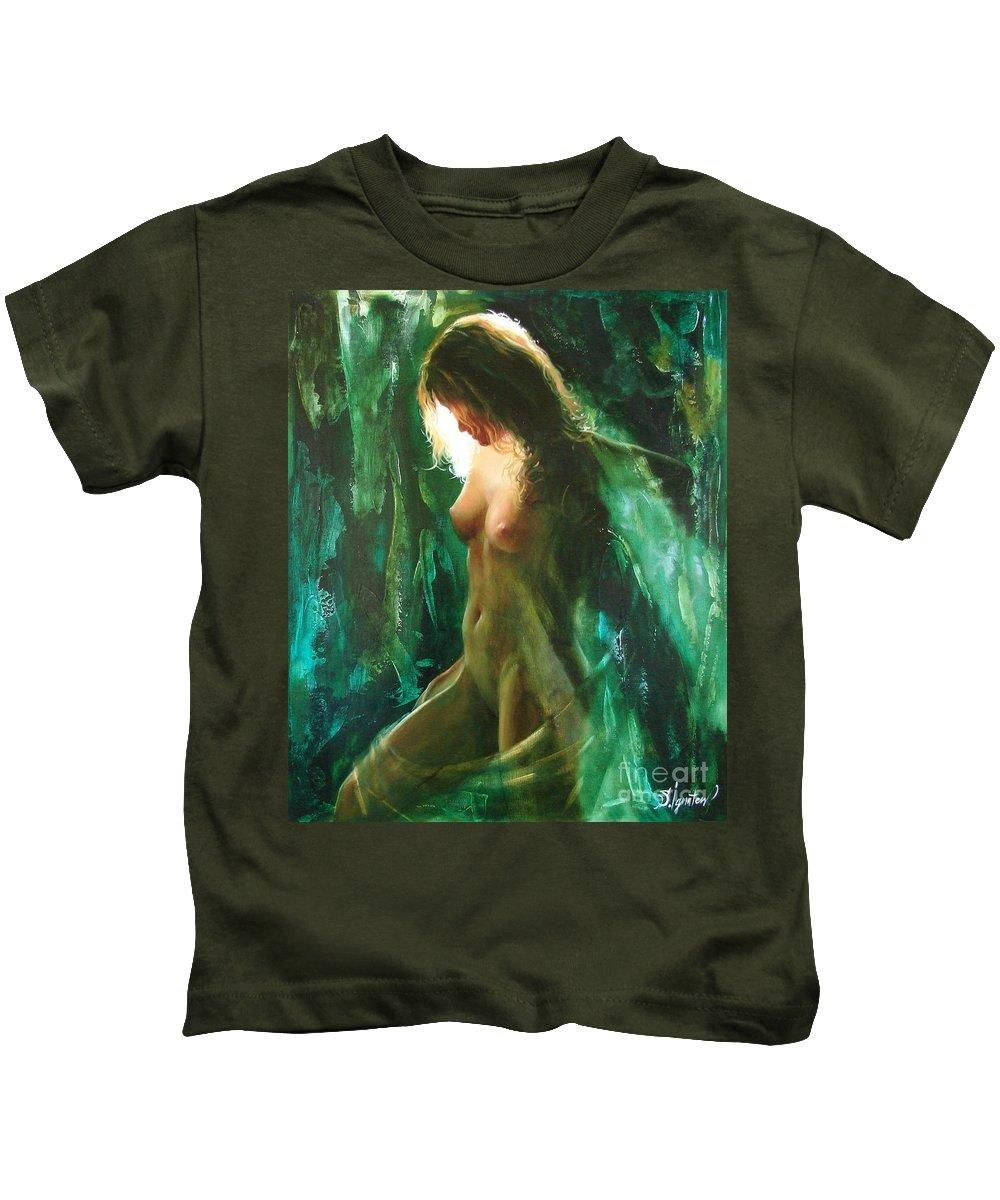 Art Kids T-Shirt featuring the painting The Malachite Light by Sergey Ignatenko