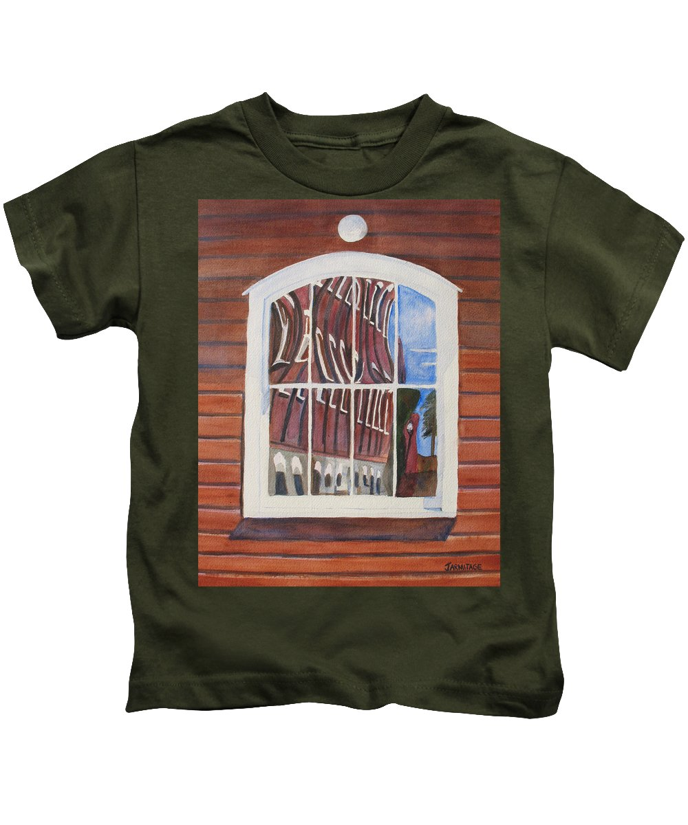 Window Kids T-Shirt featuring the painting The Mill House Reflects Upon Itself by Jenny Armitage