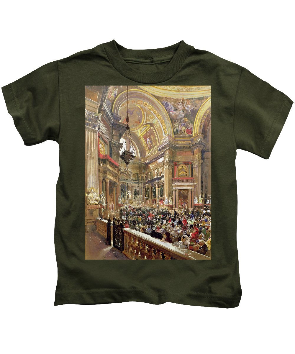 The Kids T-Shirt featuring the painting The Miracle Of The Liquefaction Of The Blood Of Saint Januarius by Giacinto Gigante