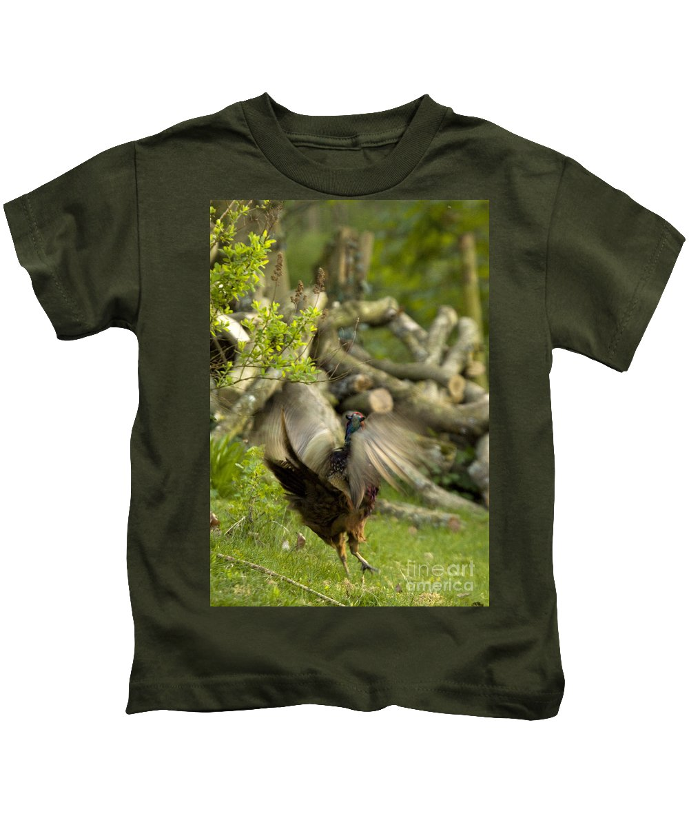Pheasant Kids T-Shirt featuring the photograph The Movement by Angel Ciesniarska