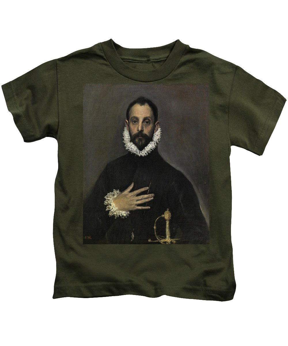 Beard Kids T-Shirt featuring the painting The Nobleman With His Hand On His Chest by El Greco
